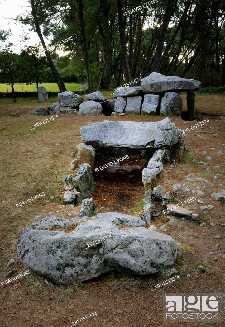 Stock Photo: Neolithic dolmen burial chamber complex of Mane Kerioned. Brittany, France. The western passage grave behind the central dolmen.