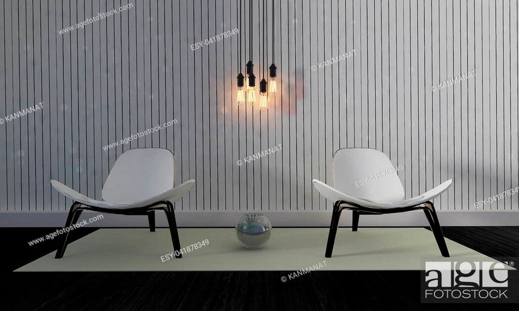 Stock Photo: Loft and simple living room with modern wood chair and wooden wall background and copyspace-3d rendering.