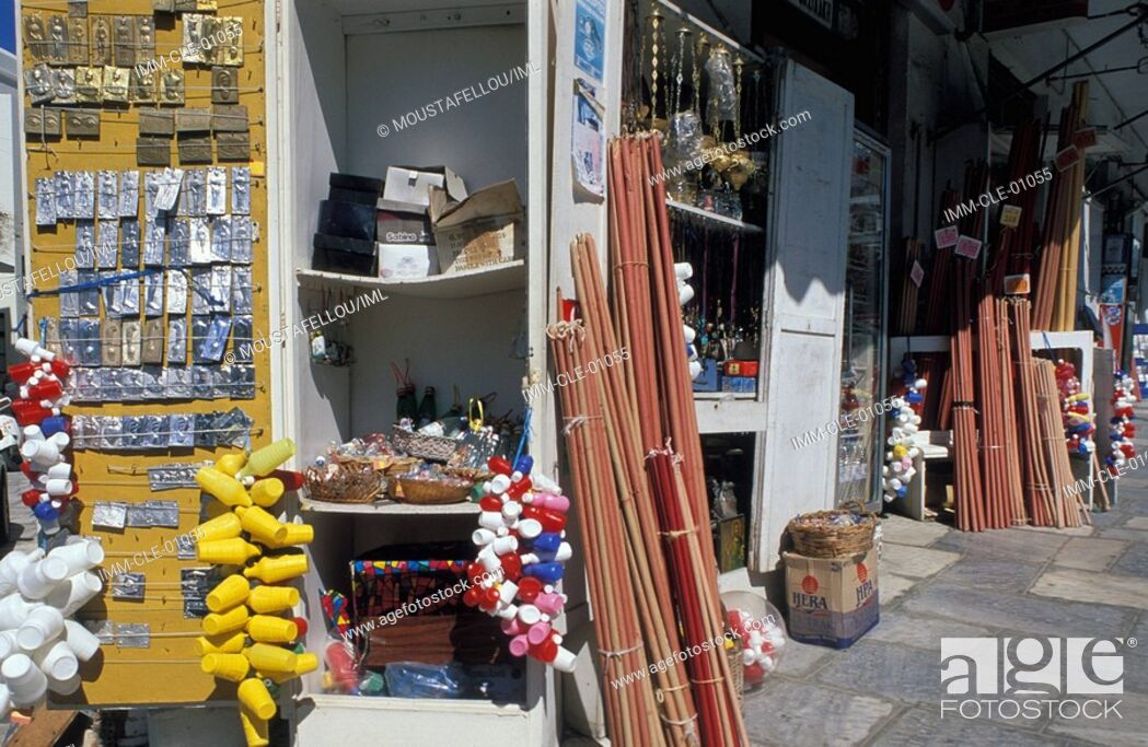Stock Photo: Shops with Religious Souvenirs, Tinos, Cyclades, Greece, Europe.