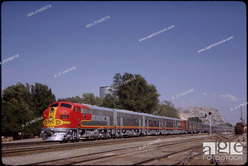 Stock Photo: Santa Fe Diesel Locomotive, The Chief Passenger Train, Victorville, California, USA, 1963.