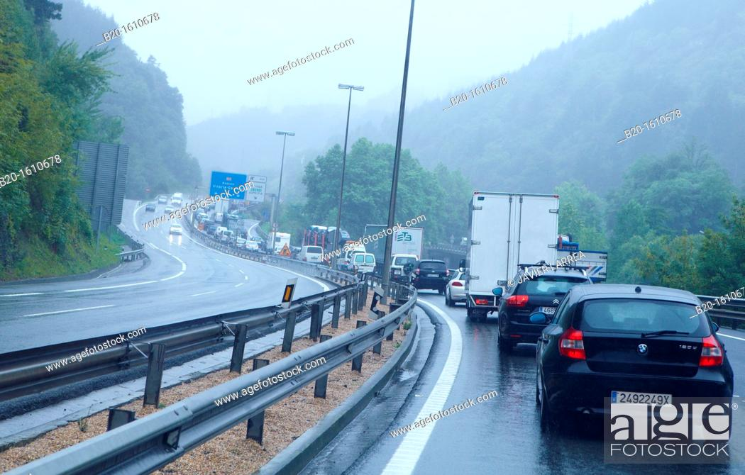 Stock Photo: Traffic Jam, Highway N1,Tolosa, Gipuzkoa, Basque Country, Spain.