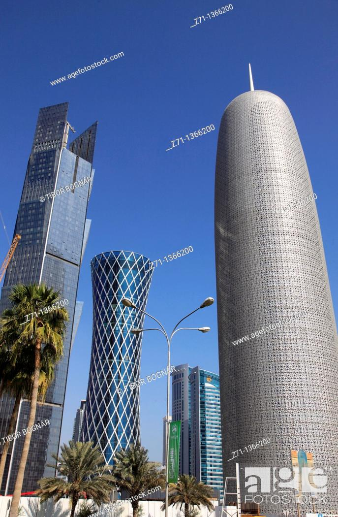 Stock Photo: Qatar, Doha, skyscrapers,.