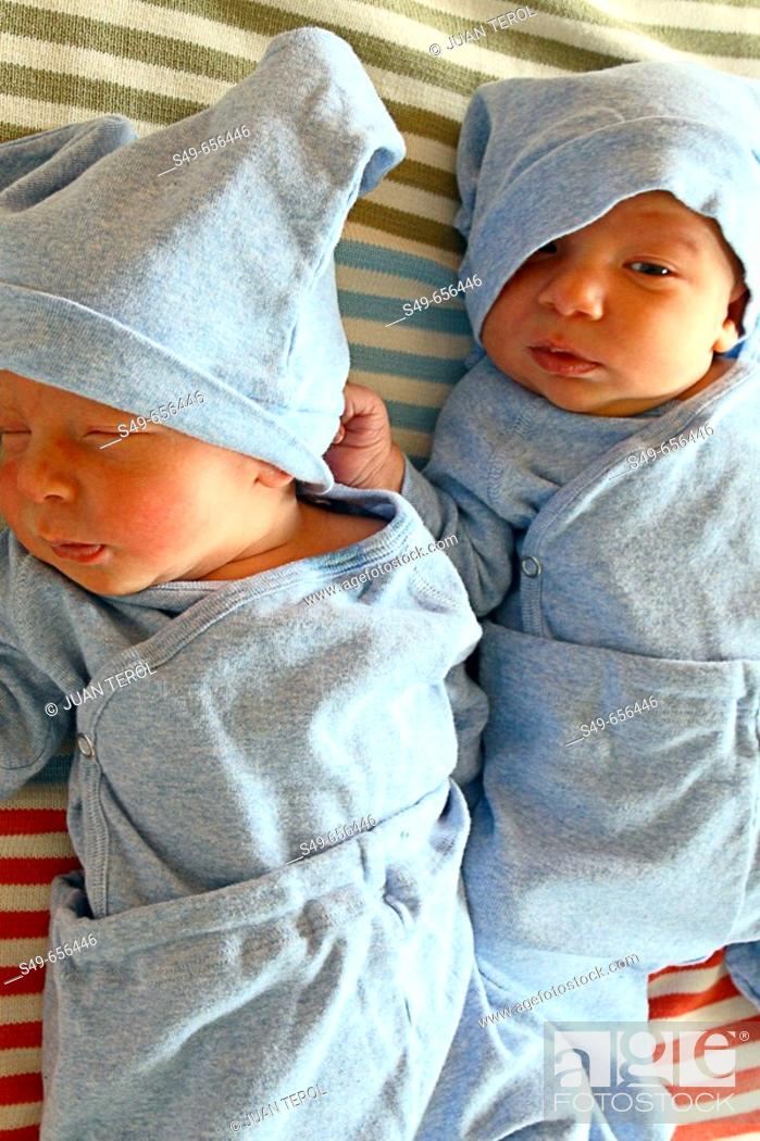 Stock Photo: Two newborn babies.