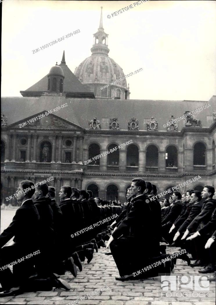 Stock Photo: Dec. 06, 1959 - 'Kneel Down, Men! Stand Up, Officers!': The Traditional Ceremony Of Christening Of The New Promotion Of Saint-Cyr Cadets Was Held In The Court.