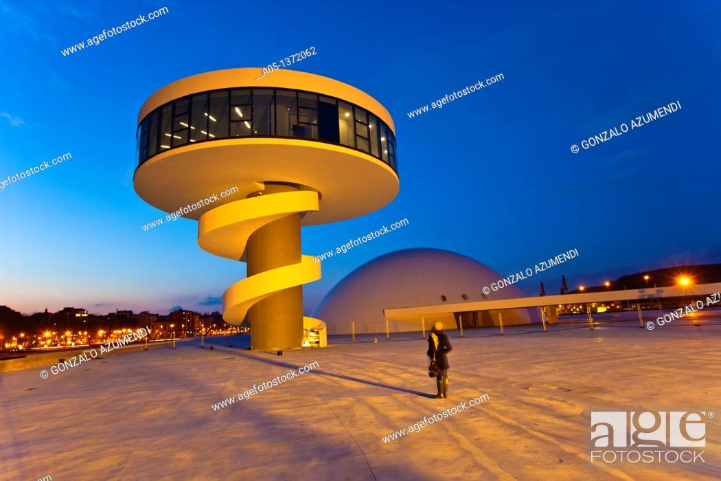 Stock Photo: Oscar Niemeyer Cultural Center  Aviles  Asturias  Spain.