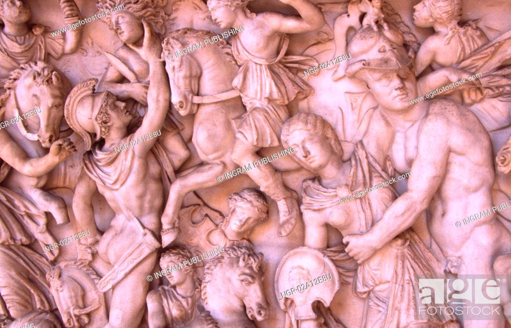 Stock Photo: Close-up of sculptures on a wall.