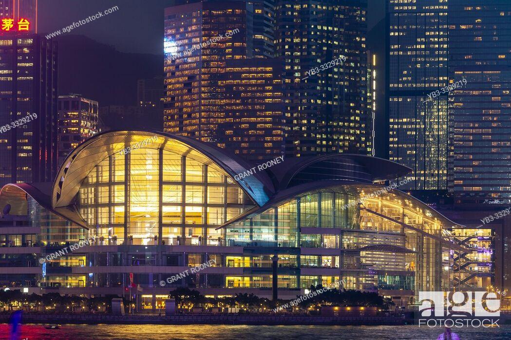 Stock Photo: The Hong Kong Convention and Exhibition Centre and Hong Kong Skyline Viewed From The Promenade, Kowloon, Hong Kong, China.