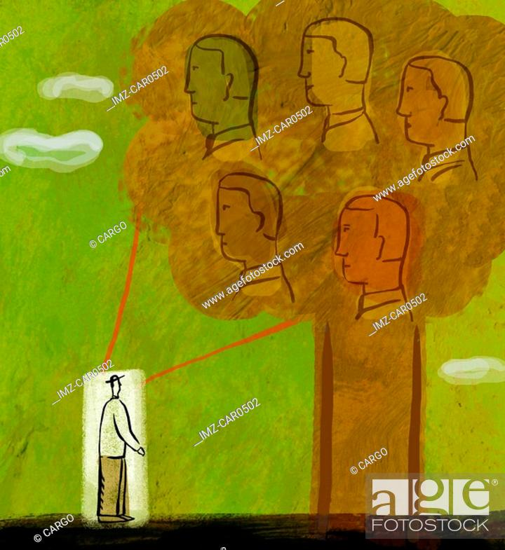 Stock Photo: Illustration of a man standing in front of a tree with five human heads on it.