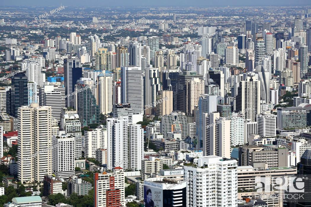 Stock Photo: Aerial general view of buildings on the skyline in Bangkok, Thailand.