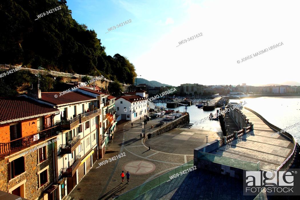 Stock Photo: View of the port from the Aquarium San Sebastián Gipuzkoa Basque Country Spain.