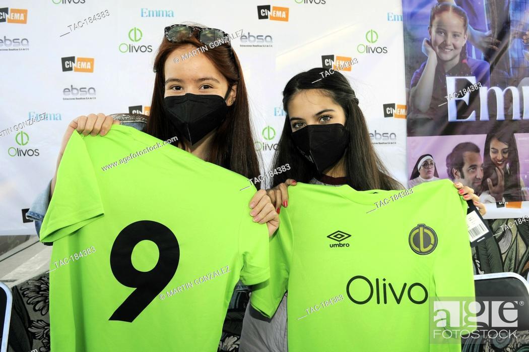 Stock Photo: PUEBLA, MEXICO – DECEMBER 19: Cassandra Iturralde and Renata Chacon pose for photos during the press conference 'Emma en Los Olivos' at  Los Olivos Football.