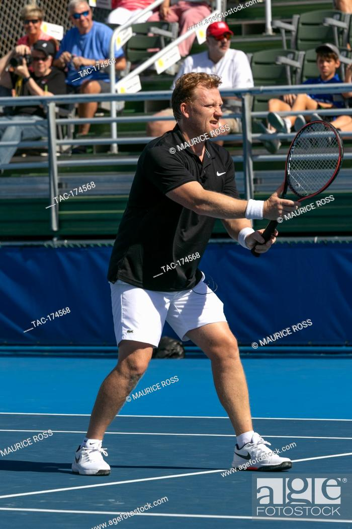 Stock Photo: Kevin KcKidd playing in the Chris Evert Pro-Celebrity Tennis Tournament November 23 2019 at the Delray Beach Tennis Center, Delray Beach Florida.