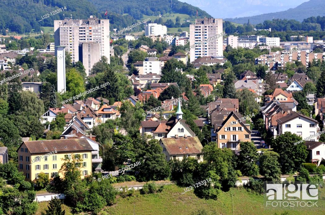 Stock Photo: Baden (Argovia, Switzerland): view of the city.