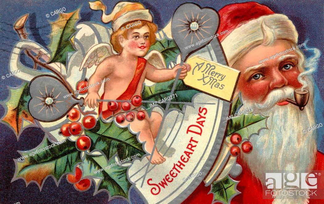 Stock Photo: Vintage Christmas postcard of a cherub and Santa Claus in the background.