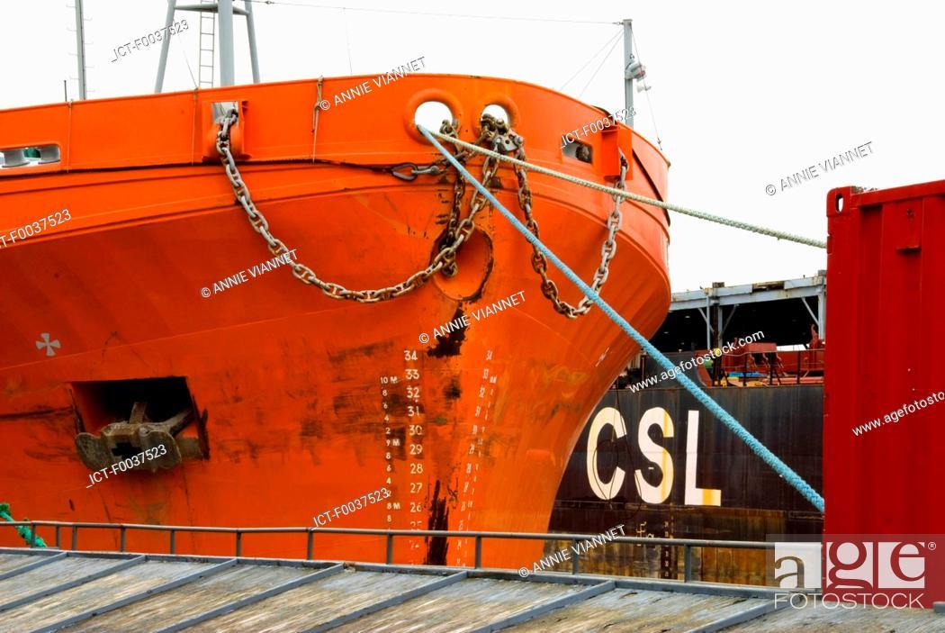 Stock Photo: Canada, Quebec, Montreal, docked ship.
