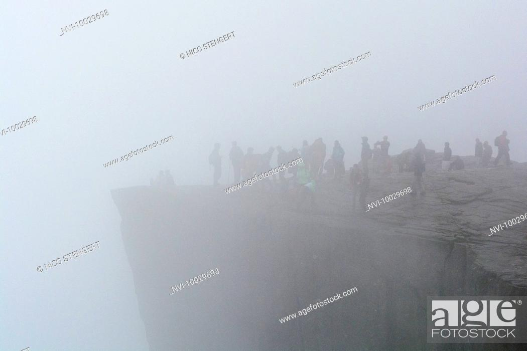 Stock Photo: Pulpit Rock in fog, Ryfylke, Rogaland, Norway.