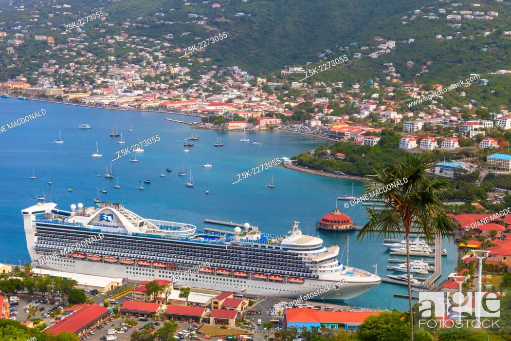 Stock Photo: A cruise ship in port at Charlotte Amalie, St. Thomas, US Virgin Islands viewed from Paradise Point.