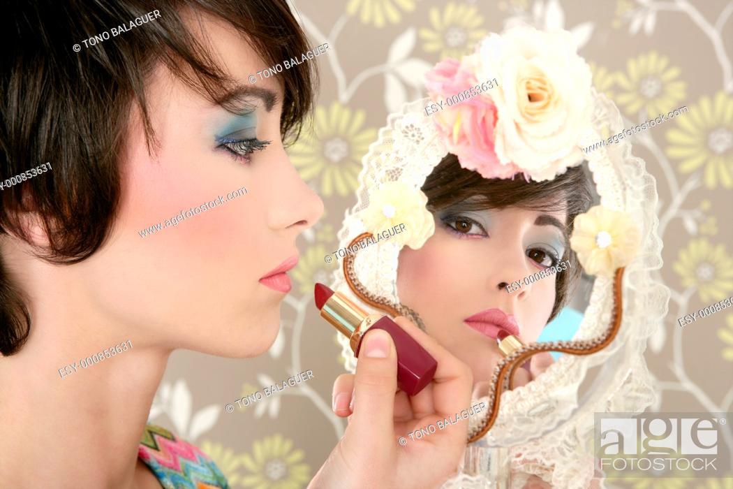 Stock Photo: retro woman mirror lipstick makeup tacky fashion vintage wallpaper.