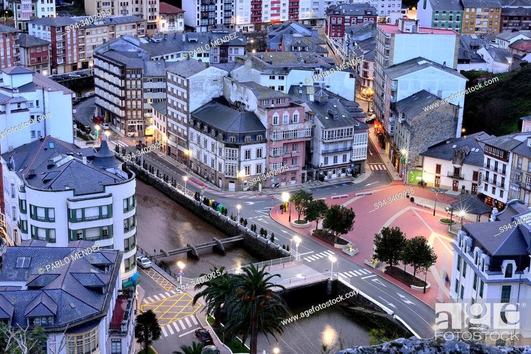 Stock Photo: Negro river and overview of Luarca, Asturias, Spain.