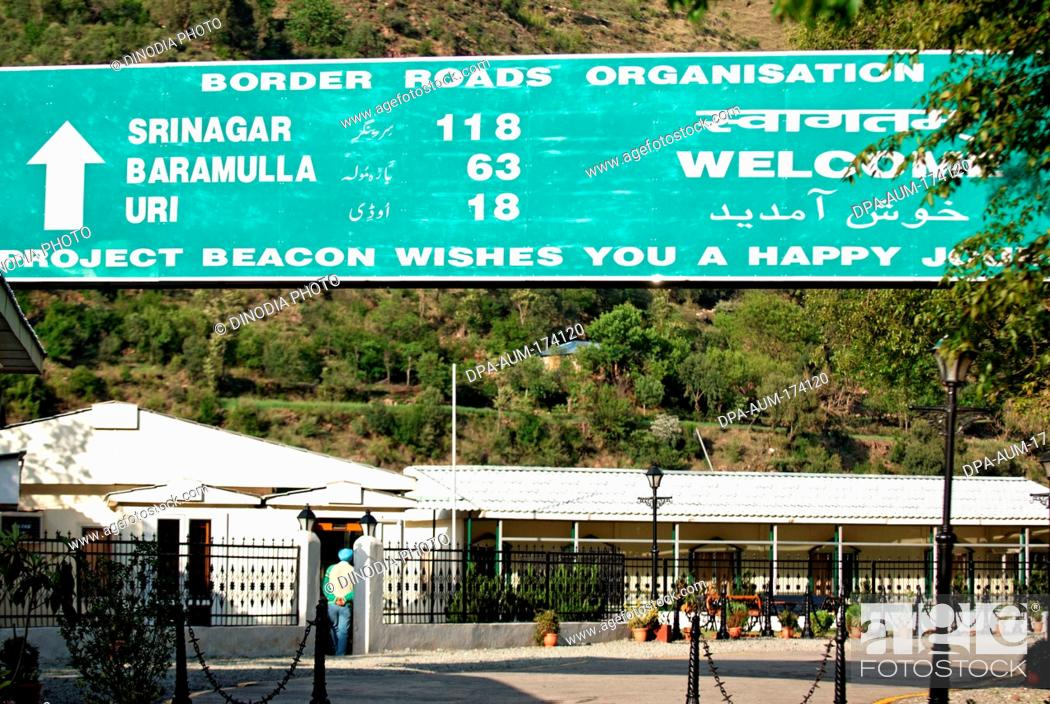 Welcome Board Showing Distance By Border Road Organization