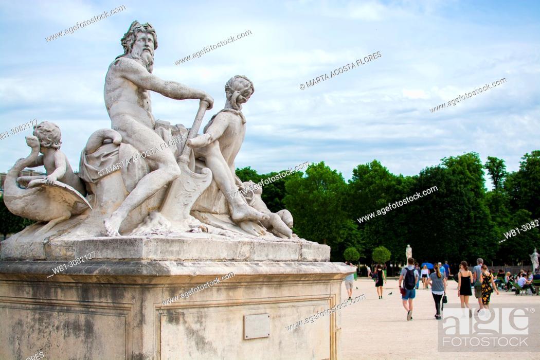 Stock Photo: La Seine et la Marne statue group by Nicolas Coustou, in a sunny day. Jardin des Tuileries, Paris, France.