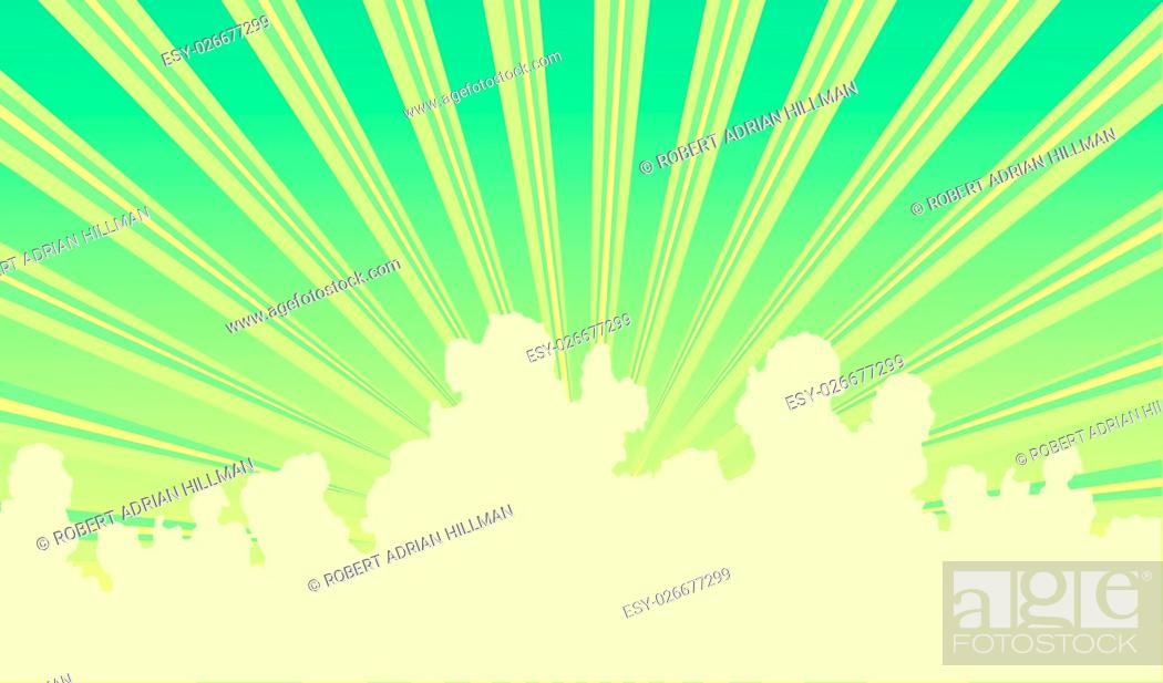 Vector: Editable vector illustration of sunbeams and clouds.