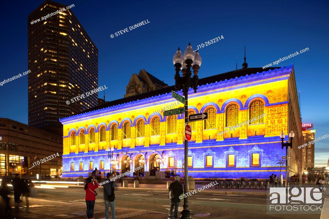Stock Photo: Boston Public Library, illumination, Copley Square, Boston, MA, USA.