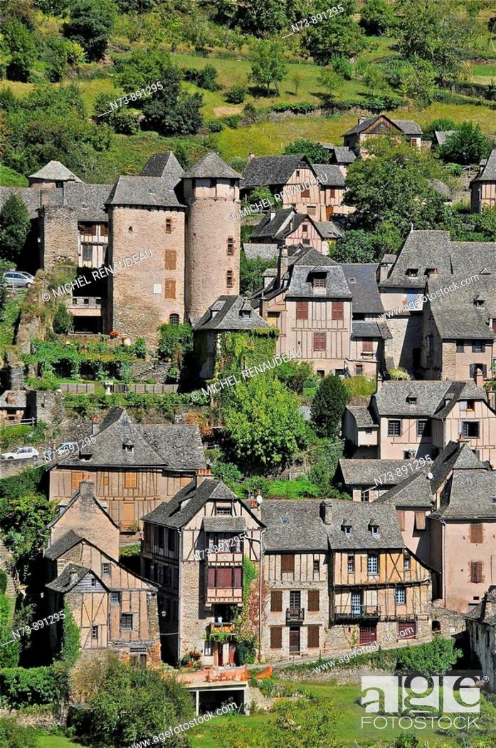 Stock Photo: Conques, Aveyron, Midi-Pyrenees, France.