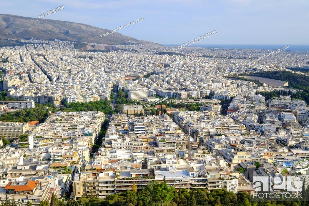 Stock Photo: Athens view from the top of Mount Lycabettus, Athens, Greece, Europe.