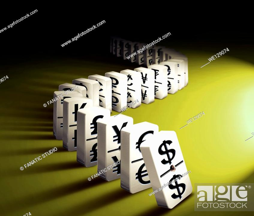 Stock Photo: Illustrative image of dominos arranged in a row representing worldwide exchange of currency.