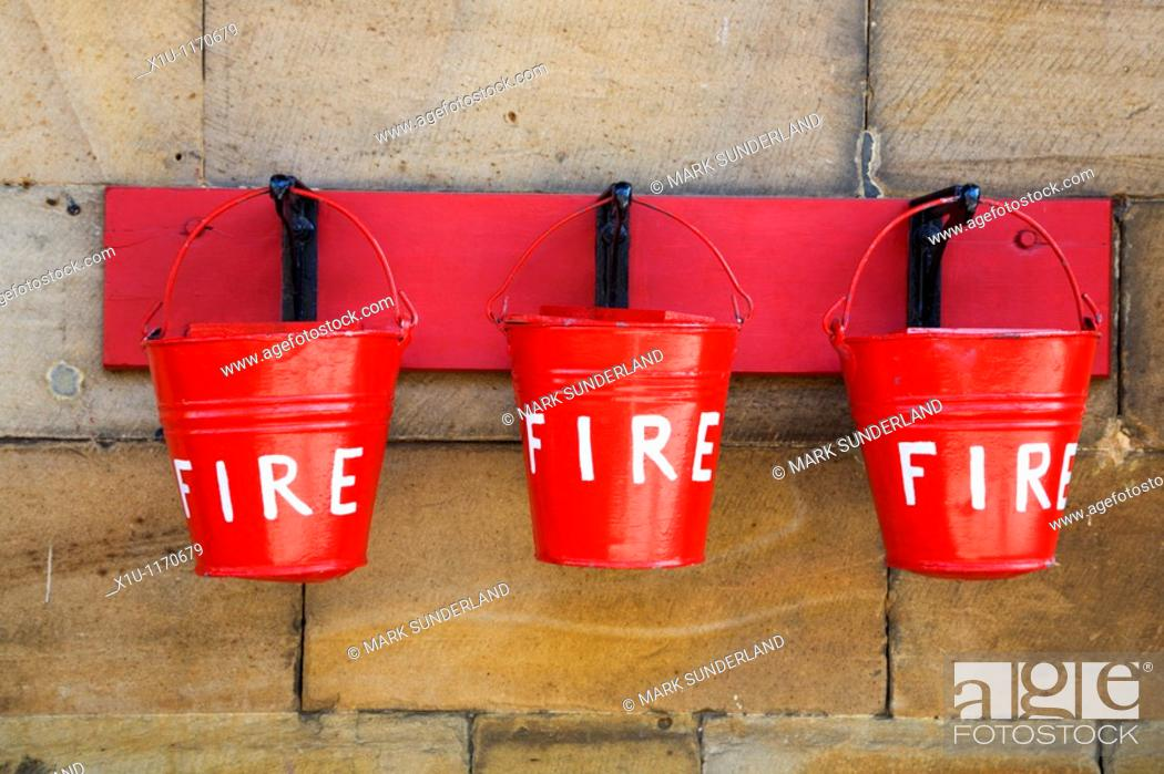 Stock Photo: Fire Buckets at Pickering Station Pickering North Yorkshire Engl.