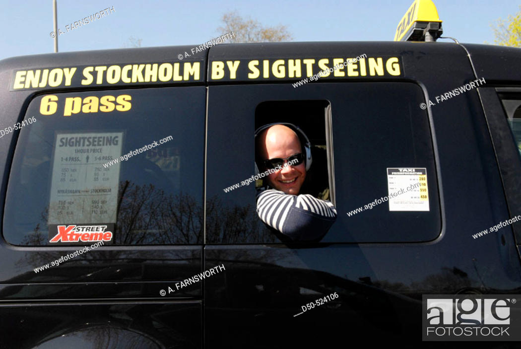 Stock Photo: Stockholm Sightseeing taxi. Tourist with earphones. Stockholm. Sweden.