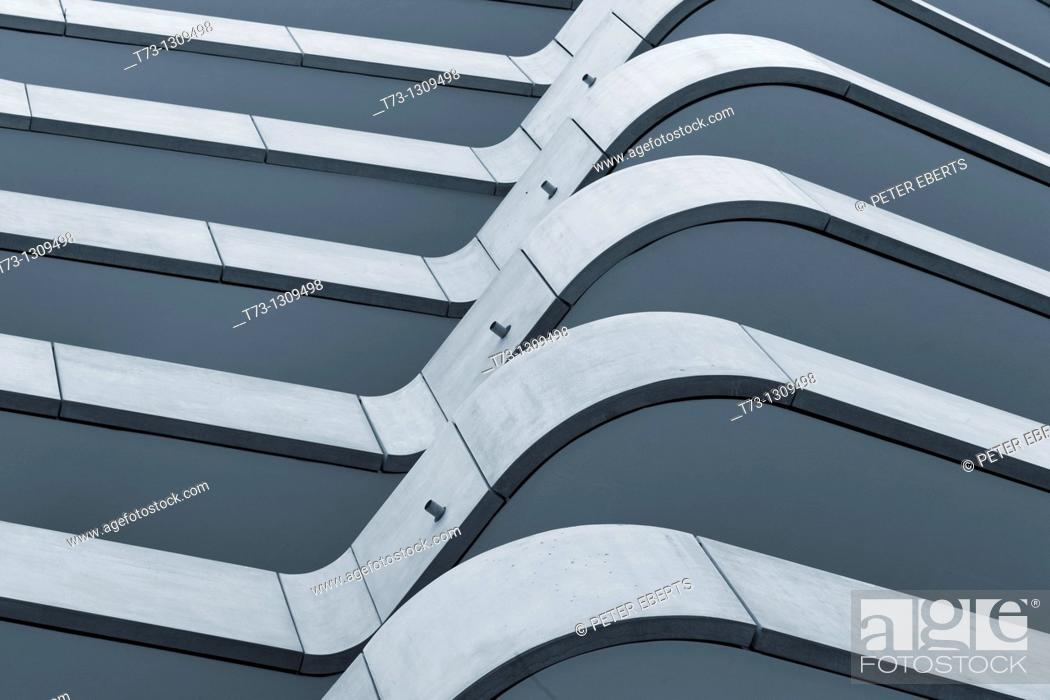 Stock Photo: Architectural detail, Marco Polo Tower, Hamburg, Germany.