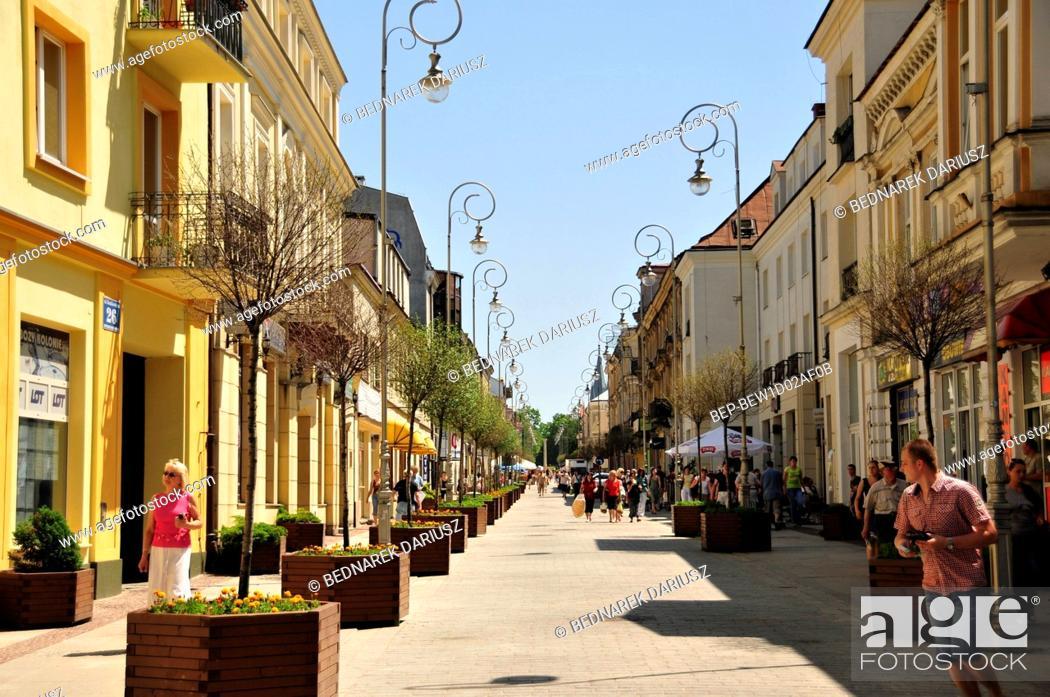 Stock Photo: Sienkiewicza street in Kielce, swietokrzyskie Voivodeship, Poland.