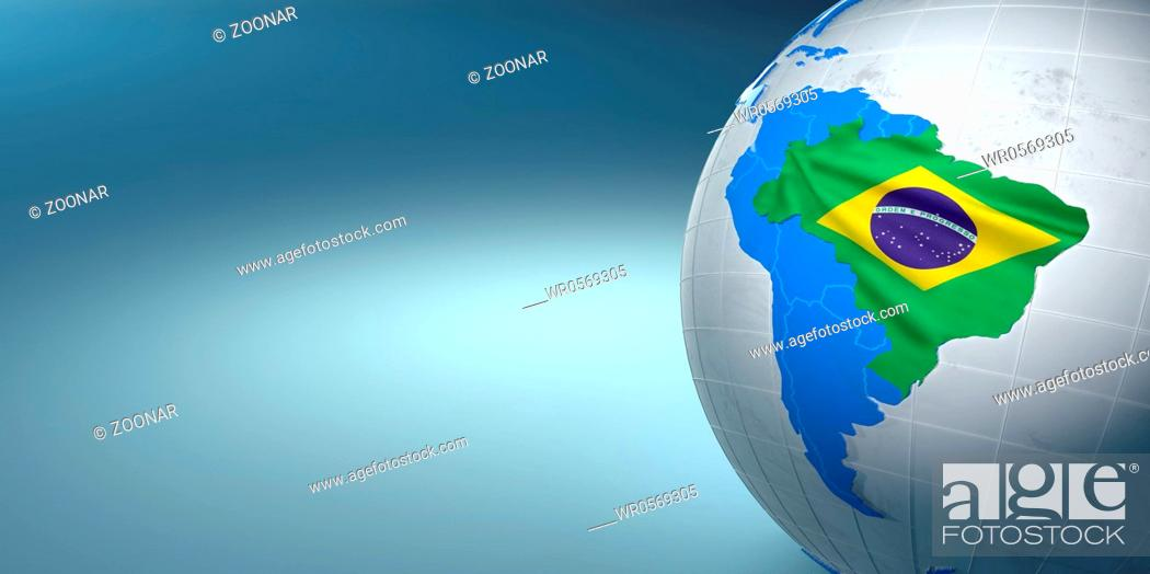Stock Photo: Map of the Brazil on Earth in the national colors. 3d.