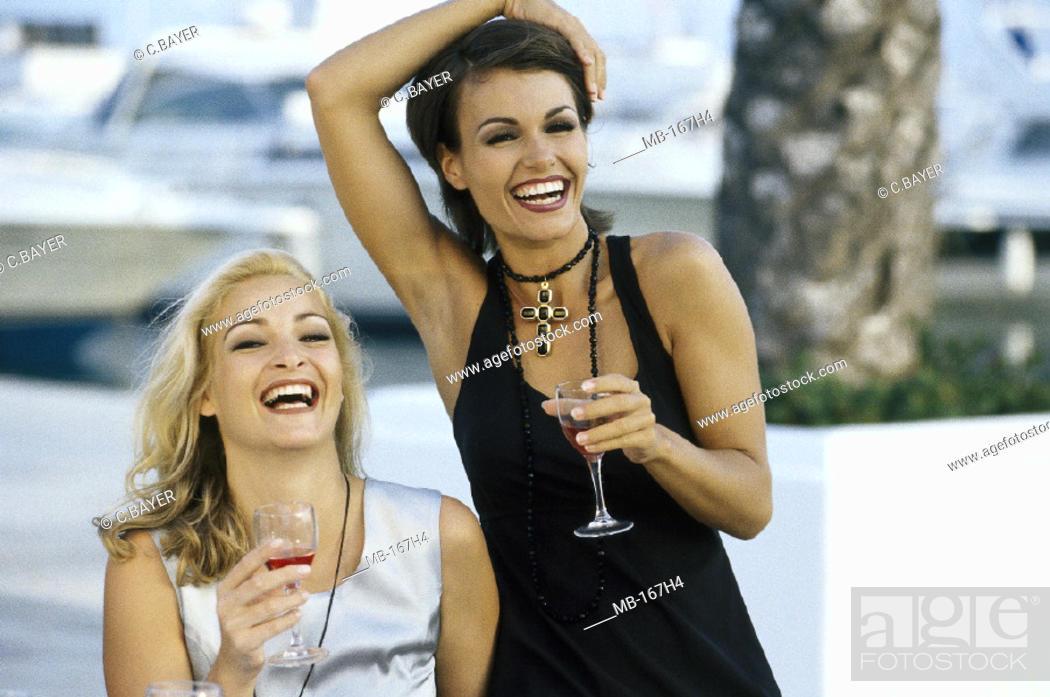 Stock Photo: Women, High spirits, Wine glasses.