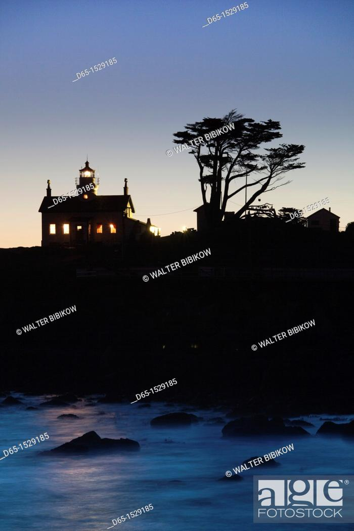 Stock Photo: USA, California, Northern California, North Coast, Crescent City, Battery Point Lighthouse, dusk.