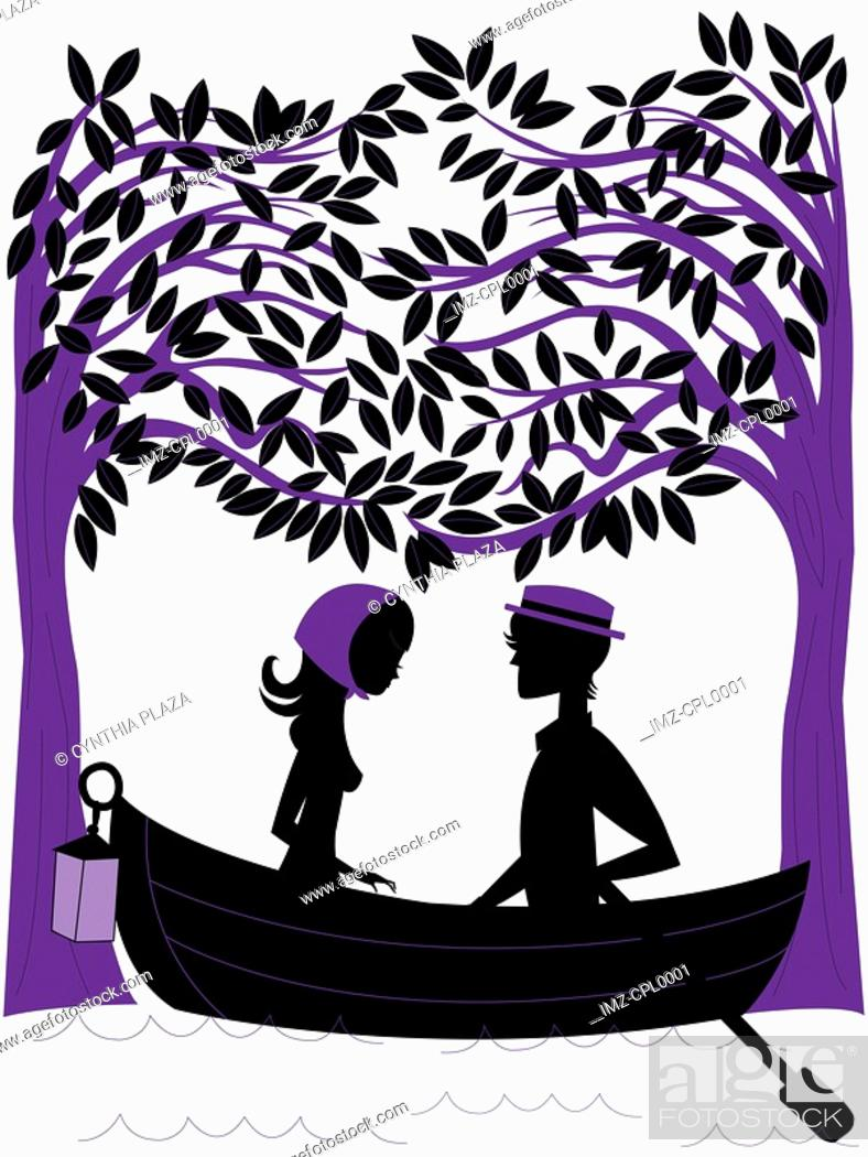 Stock Photo: Silhouette of a couple rowing a boat under trees.