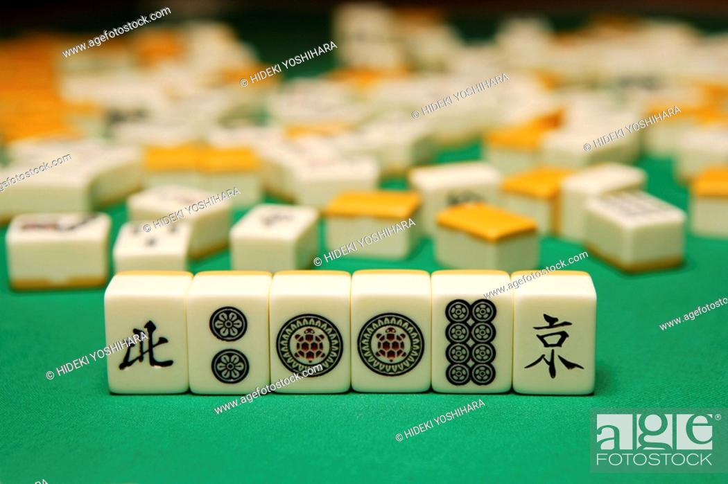 Stock Photo: Playing mahjong.