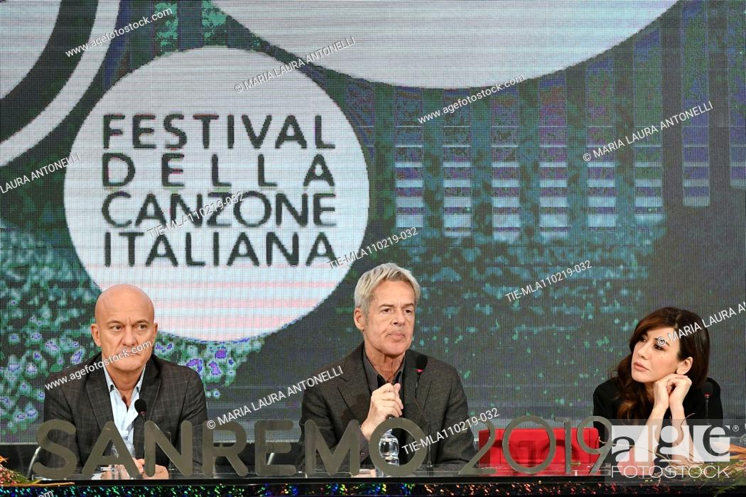 Imagen: Claudio Baglioni, Claudio Bisio, Virginia Raffaele during the final press conference of 69th Sanremo Music Festival, Sanremo, ITALY- 10-02-2019.