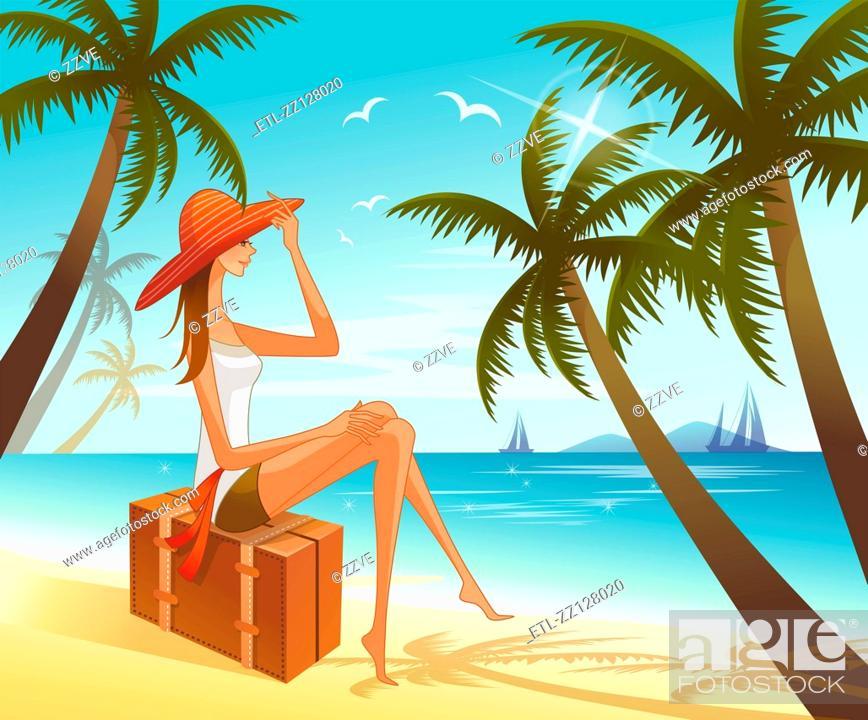 Stock Photo: Woman sitting on suitcase overlooking sea.