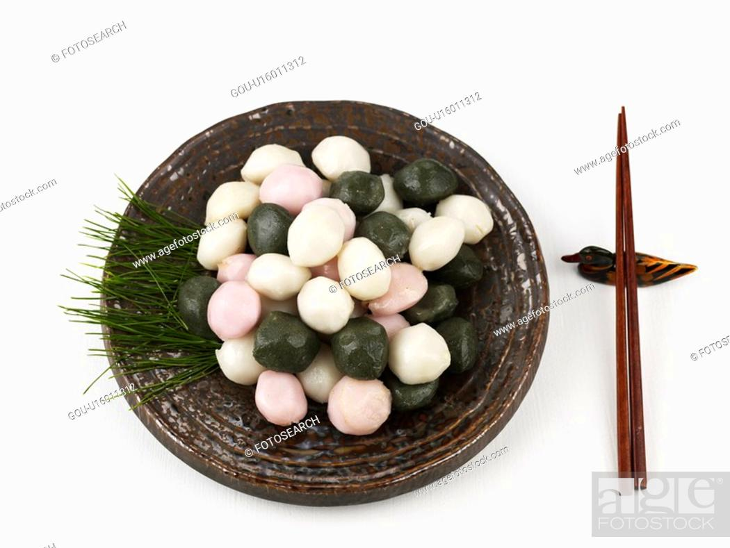 Stock Photo: songpyeon, dish, autumn, fall, pine needle, chopsticks.