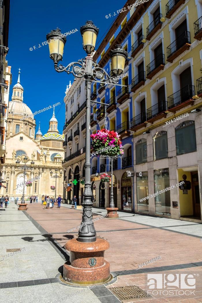 Stock Photo: Alfonso Street in city centre of Zaragoza, Aragon, Spain.