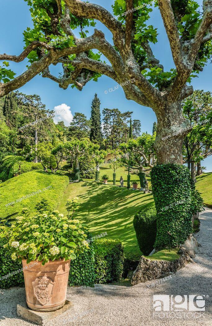 Stock Photo: Garden of Villa Balbianello in Lenno at Lake Como, Lombardy, Italy.