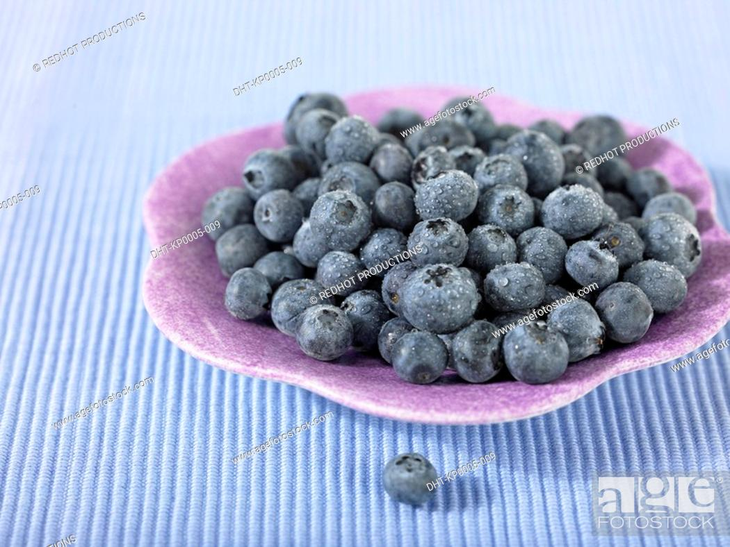 Stock Photo: Plate of Blueberries.