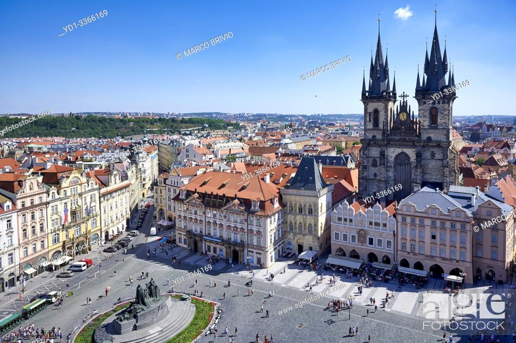 Stock Photo: Aerial view of the Gothic Church of Our Lady before Tyn in Old Town Square.