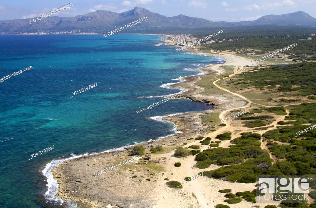 Stock Photo: Aerial view of the north coast of the island of mallorca, Balearic Island, Spain. .