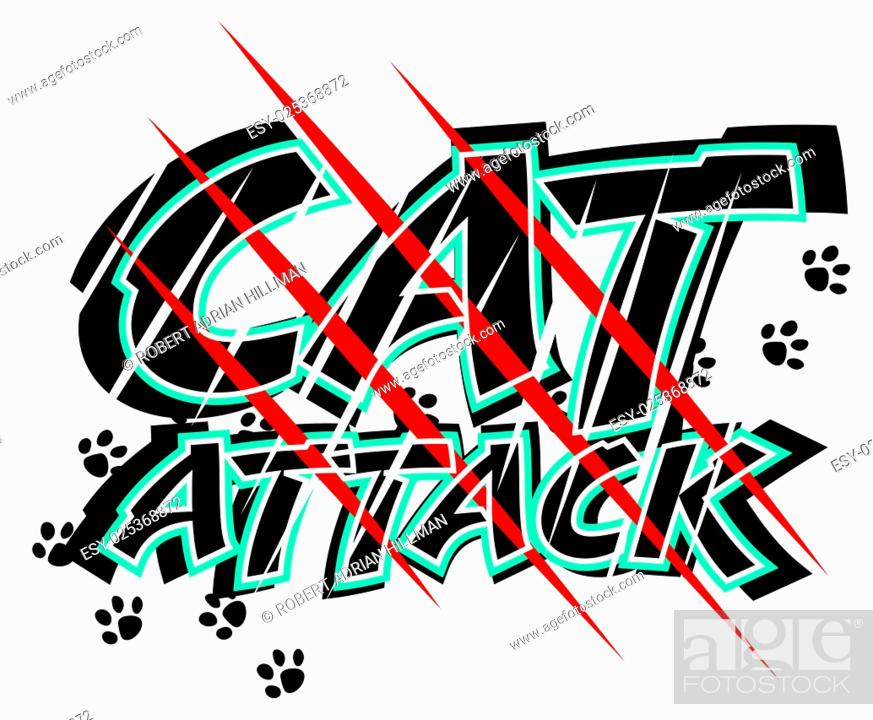 Stock Vector: Vector illustration of claw scratch marks through the words cat attack.