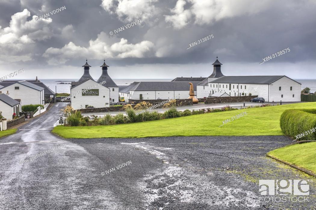 Stock Photo: Ardbeg distillery, Islay, Inner Hebrides, Argyll, Scotland, UK.