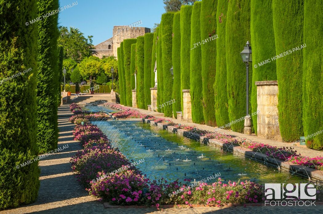 Stock Photo: Gardens of the Alcazar of the Christian Kings, Cordoba. Andalusia, Spain.